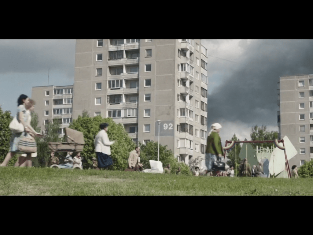 Block 92 of the Fabijoniskes neighborhood, the supposed city of Pripyat in the HBO series, Chernobyl location in Vilnius. Credit: HBO
